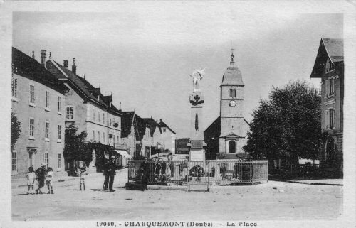 L'église de Charquemont vers 1900, document T. Mougin