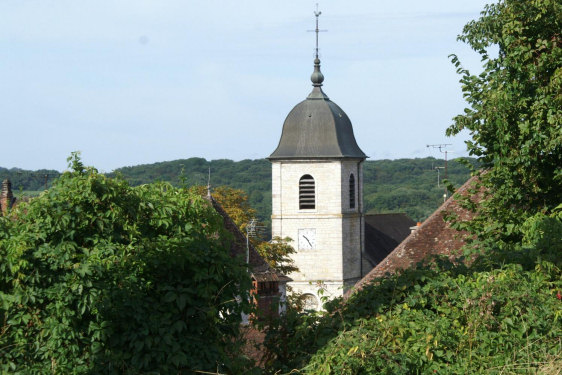 Vue du clocher de l'église de Mouchard, photo J. Masset
